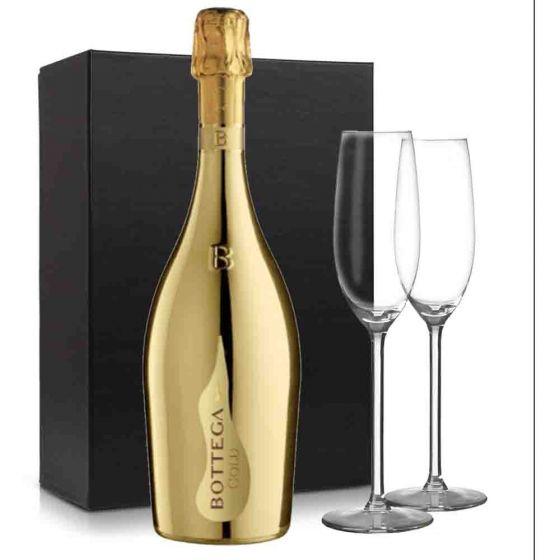 Bottega Gold Prosecco pakket met 2 flutes glazen