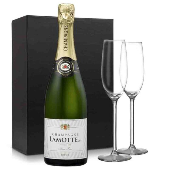 Lamotte Brut Champagne pakket met 2 glazen